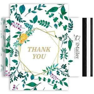 12X15.5(10 Pack)Thank You Leaf Pattern PolyMailers